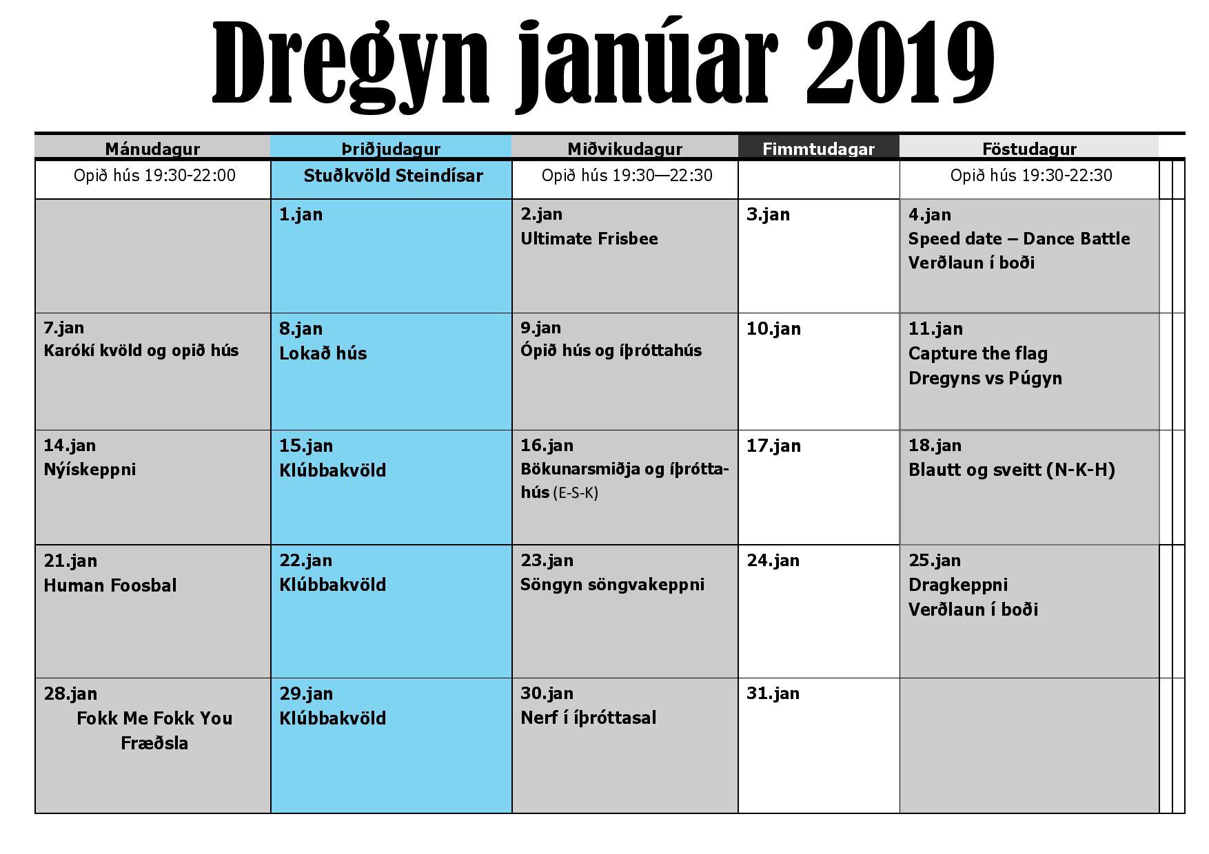 Dagskrár Dregyn